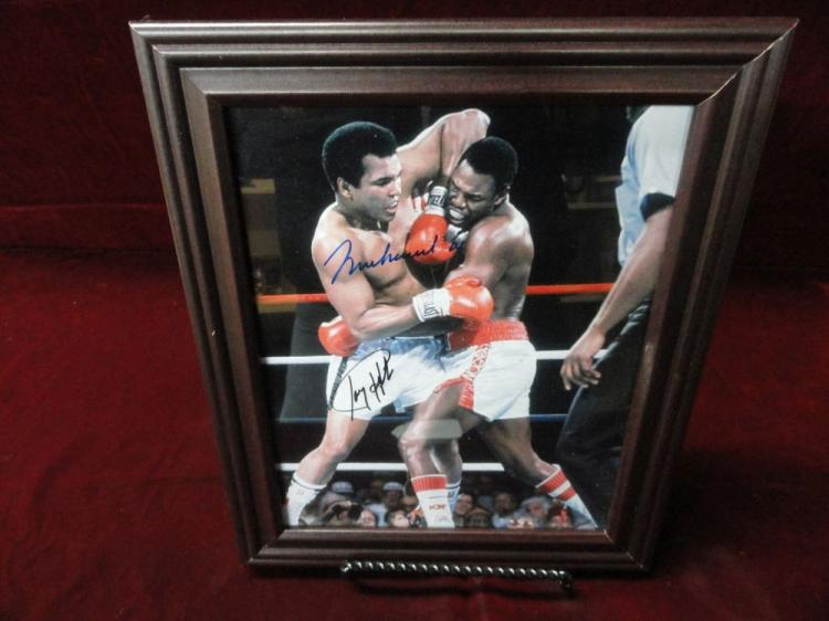ALI/HOLMES FRAMED AUTOGRAPHED PICTURE