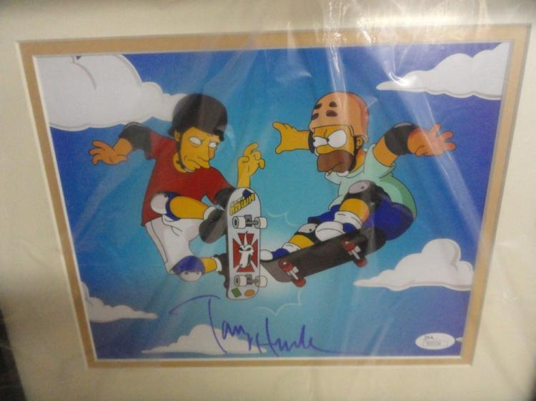 RARE CERTIFIED TONY HAWK AUTOGRAPHED SIMPSONS PICTURE - PSA/DNA CERTIFIED