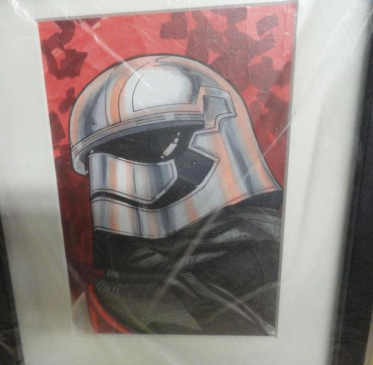 RARE 1/1 HAND DRAWN CAPTAIN PHASMA FROM THE NEW STAR WARS FORCE AWAKENS MOVIE. THE PIECE IS HAND SIGNED BY RENOWNED COMIC BOOK ARTIST TOM HODGES