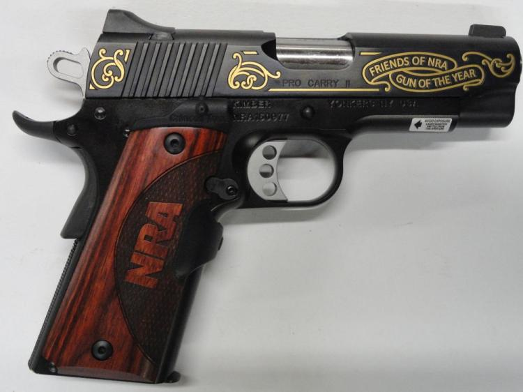 "KIMBER PRO CARRY II, ""FRIENDS OF NRA, GUN OF THE YEAR"" 1911 SEMI-AUTOMATIC PISTOL, SR # NRA150977. 45 ACP CAL. BLUE FINISH, WITH WALNUT NRA GRIPS, CRIMSON TRACE GRIPS. NIB"