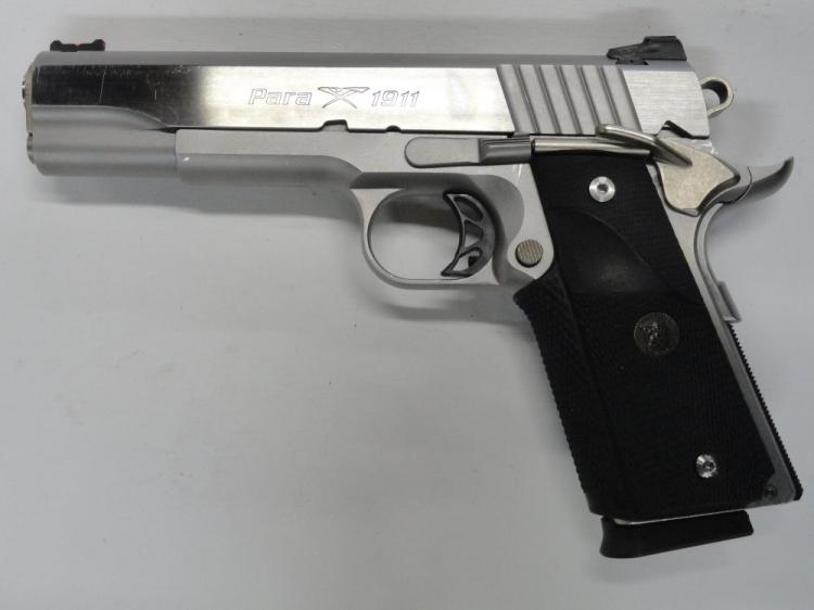"PARA ORDNANCE MOD. 1911 SEMI-AUTOMATIC PISTOL, SR # P197270, .45 ACP CAL. STAINLESS STEEL, PACMYER GRIPS WITH ORIGINAL COCOBOLO GRIP PANELS, 5"" BARREL, COMPETITION HAMMER & TRIGGER, MATCH BARREL, 7 ROUND MAGAZINE. EXCELLENT CONDITION"