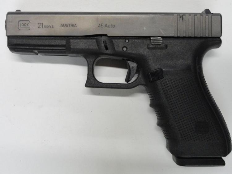 "GLOCK 21 GEN 4 SEMI-AUTOMATIC PISTOL, SR # WHP729, .45 ACP CAL. BLACK FINISH, POLYMER FRAME, 4.6"" BARREL, 13 ROUND MAGAZINE. EXCELLENT CONDITION"