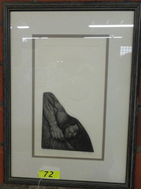 "ROBERT FREEMAN - HUCKPAPA SIOUX/LUISENO NATIVE AMERICAN, SIGNED & NUMBERED BLACK/WHITE LITHOGRAPH 3/84 TITLED ""FISHERMAN"""