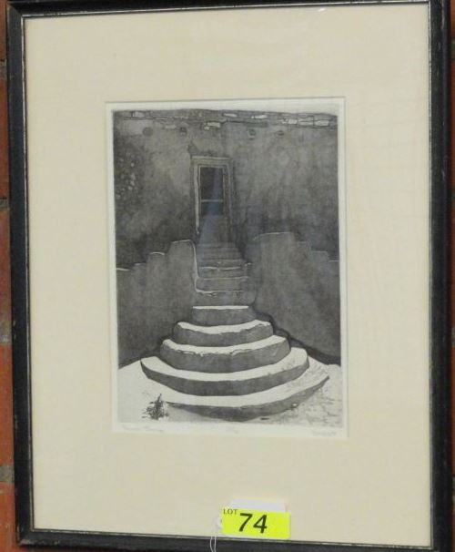 "BLACK & WHITE LITHOGRAPH TITLED ""ACOMA STEPS"" 27/30, UNREADABLE SIGNATURE"