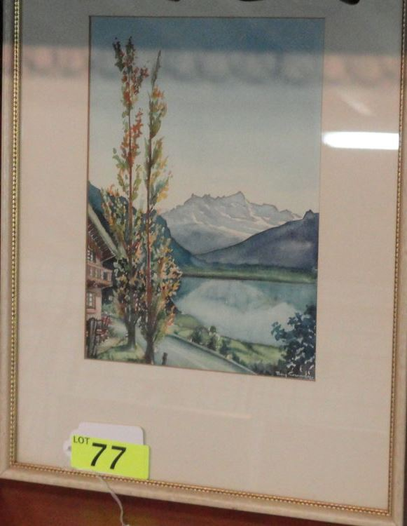 ORIGINAL WATERCOLOR BY ROY CAMBY - LAKE GENEVA (LAC LEMAN) SWITZERLAND 1953