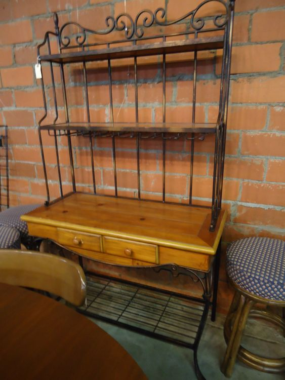 WOOD AND IRON BAKERS RACK,WILL  NOT SHIP