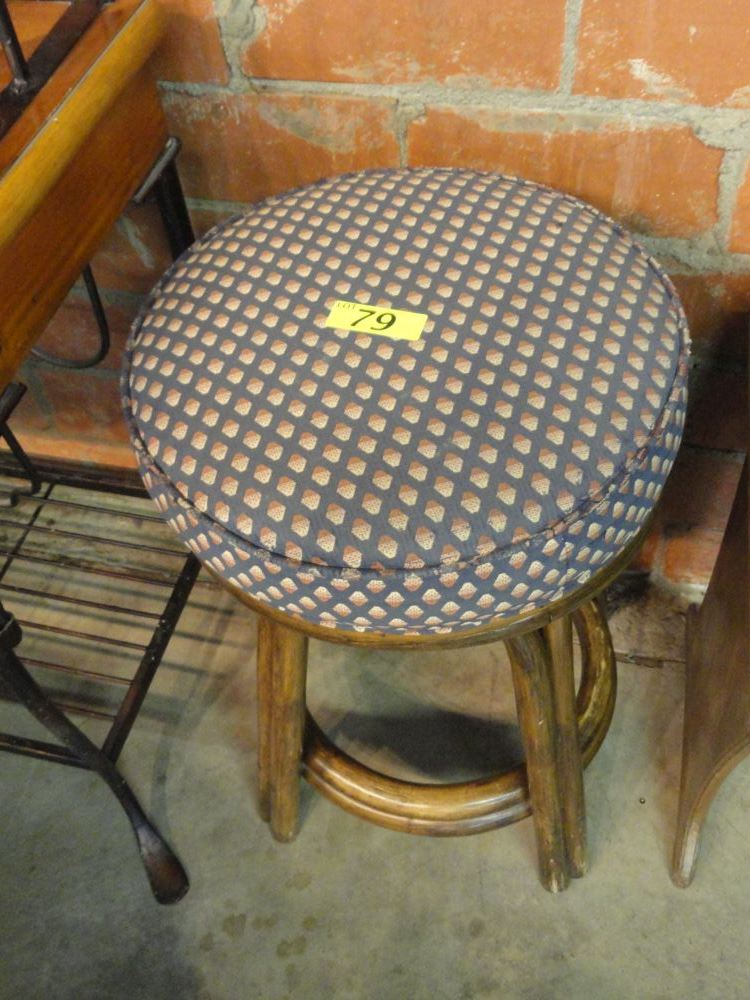 3 CANE BARSTOOLS WITH UPHOLSTERED SEATS,WILL  NOT SHIP