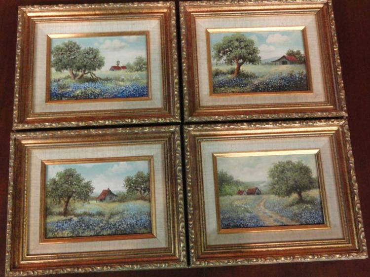 SET OF 4 ORIGINAL OIL ON CANVAS PAINTINGS BY TEXAS ARTIST ODESSA HOWERY - TEXAS HILL COUNTRY BLUEBONNETS