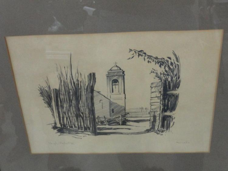 "HUGH CABOT OFFICIAL UNITED STATES NAVAL COMBAT ARTIST ORIGINAL GRAPHITE ON PAPER DRAWING, SIGNED & TITLED ""MEXICO - 1956"""