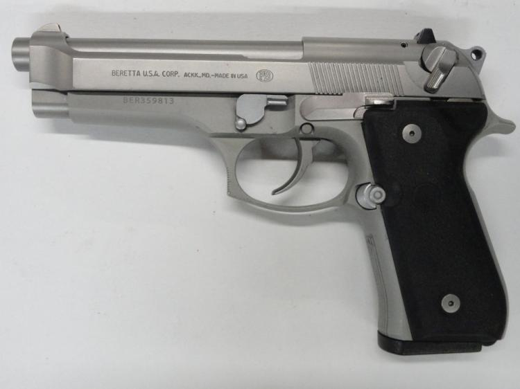 "BERETTA MOD. 96 SEMI-AUTOMATIC PISTOL, SR # BER359813, .40 S&W CAL. STAINLESS STEEL, HARD RUBBER BERETTA GRIPS, 4.9"" BARREL, 10 ROUND MAGAZINE. EXCELLENT CONDITION"