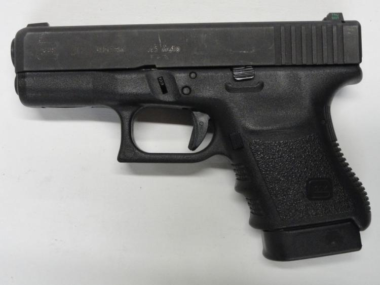 "GLOCK 30 SEMI-AUTOMATIC PISTOL, SR # DDB639US, .45 ACP CAL. BLACK FINISH, POLYMER FRAME, 3.78"" BARREL, 10 ROUND MAGAZINE. EXCELLENT CONDITION"