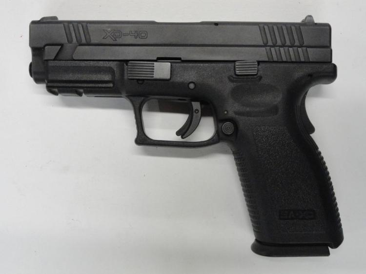 "SPRINGFIELD ARMORY XD40 SEMI-AUTOMATIC PISTOL, SR # US277161, .40 S&W CAL. BLACK FINISH, POLYMER FRAME, 4"" BARREL, 12 ROUND MAGAZINE. EXCELLENT CONDITION"
