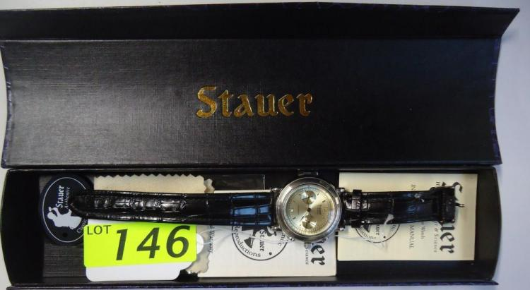 MENS 27 JEWEL STAUER WATCH WITH LEATHER BAND, AS NEW WITH BOX