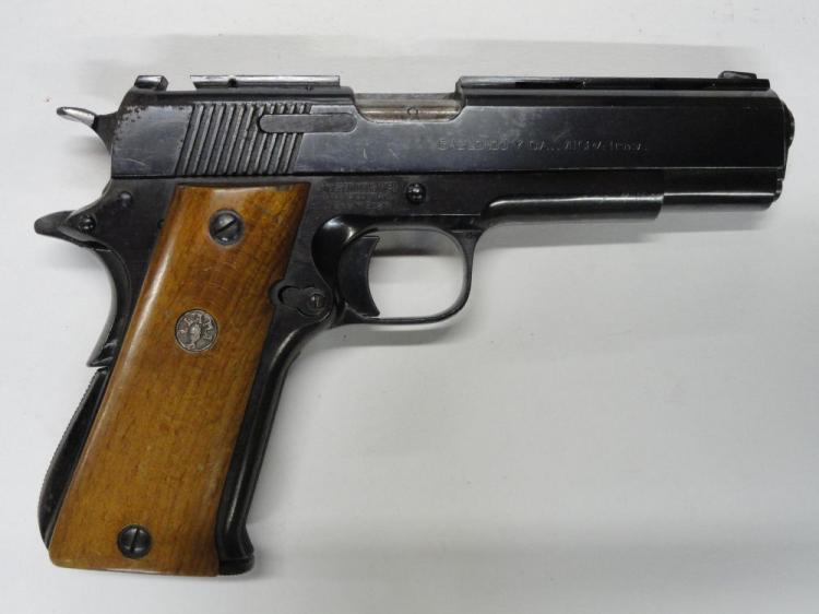 "LLAMA 1911 STYLE SEMI-AUTOMATIC PISTOL, SR # 953659, 9 MM CAL. BLUE FINISH, WALNUT LLAMA GRIPS, 4.25"" BARREL, 9 ROUND MAGAZINE. VERY GOOD CONDITION, SOME RUST ON RIGHT, REAR OF SLIDE"