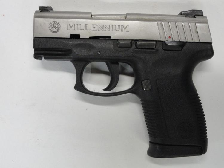 "TAURUS PT 145 PRO SEMI-AUTOMATIC PISTOL, SR # NDN42926, .45 ACP CAL. STAINLESS STEEL SLIDE, POLYMER FRAME, 3.25"" BARREL, 10 ROUND MAGAZINE, 2 MAGS. EXCELLENT CONDITION"