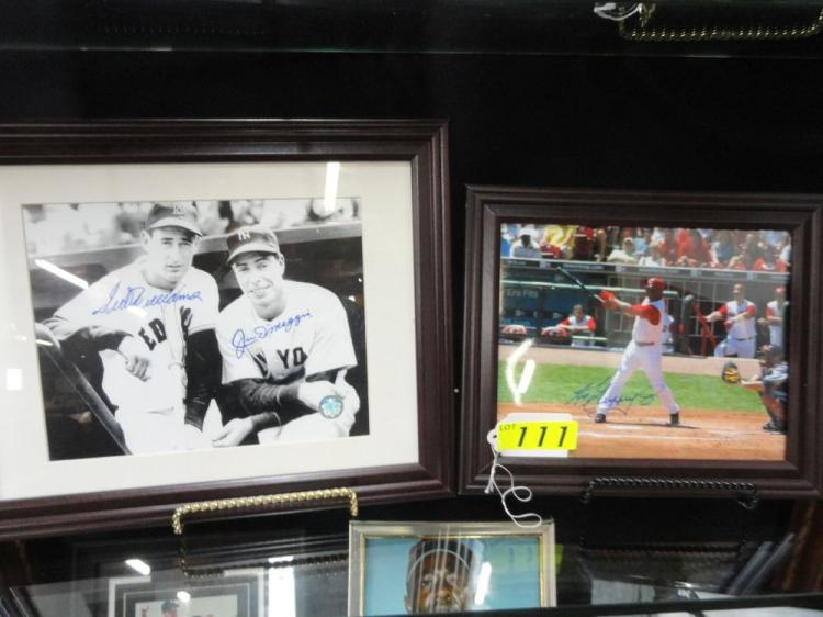 WILLIAMS/MANTLE/DIMAGGIO FRAMED AUTOGRAPHED PICTURE, MICKEY MANTLE FRAMED AUTOGRAPHED PICTURE
