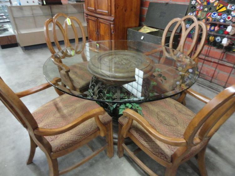 GLASS TOP PEDESTAL TABLE WITH 4 CHAIRS, WILL NOT SHIP