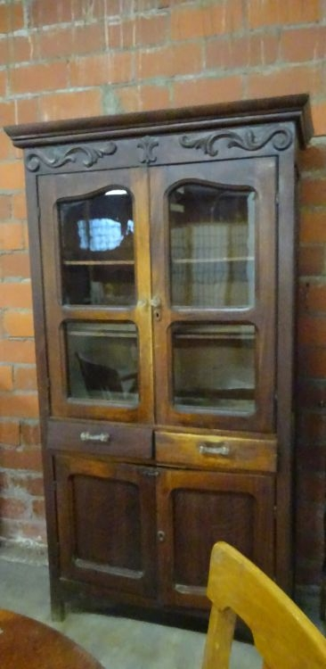 Vintage oak kitchen cabinet 2 glass doors over 2 drawers ov for Auctions for kitchen cabinets