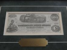 1862 $100 CONFEDERATE C NOTE