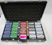 LARGE BOX OF POKER CHIPS WITH CARDS
