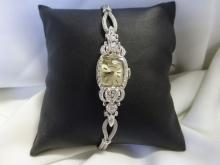 LADIES 14KT WHITE GOLD AND DIAMOND HAMILTON WATCH