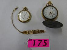 2 ELGIN POCKET WATCHES 1895 & 1900 GOLD FILLED