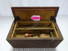 WOODEN TOOL BOX WITH A SMALL AMOUNT OF TOOLS