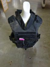STATE POLICE TACTICAL PLATE CARRIER (NO PLATES) WITH ASSORTED POUCHES
