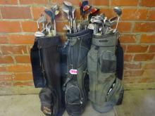 (3) FULL GOLF BAGS WITH ASSORTED BRANDS OF CLUBS INCLUDING PING, PROFESSIONAL REGISTERED, CAMBER & MORE