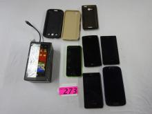 5 SMART PHONES: (3 LG, 1 SAMSUNG AND ONE I PHONE WITH CRACKED SCREEN)