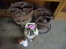 (2) PORTABLE SHORT PROPANE COOKER STANDS; (1) SMALL PROPANE TANK WITH (2) HEATERS
