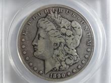 1890-CC ANACS KEY DATE MORGAN SILVER DOLLAR VG10