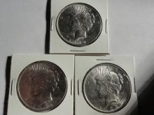 (3) BU PEACE SILVER DOLLARS: (2) 1923, 1922