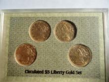 CIRCULATED $5 LIBERTY GOLD SET: 1880, 1886,1901 & 1902