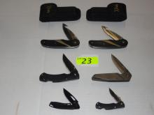 (6) TECX LOCK BLADE KNIVES: (2) MOD T0085.OG, MOD T0063.25ML, MOD T0074.5T, MOD T0093.0, MOD T0094.0. NIB