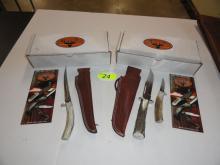 SILVER STAG KNIFE SETS, D2 ELK STICK SERIES, GUIDE COMBO PACK, TOOL STEEL SERIES FILET KNIFE. NIB