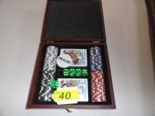 REMINGTON GAMBLING SETS IN WOOD REMINGTON BOX: 4 STACKS CHIPS, 5 DIE, 2 DECKS OF CARDS, DEALER BUTTON. NIB (4 AVAILABLE TO FLOOR - CHOICE)