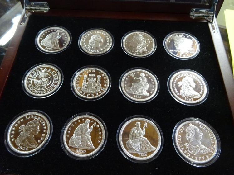 SET OF 12 AMERICA'S RAREST SILVER DOLLARS IN LOCKING DISPLAY CASE, ALL ARE PROOF COPIES, SILVER PLATE