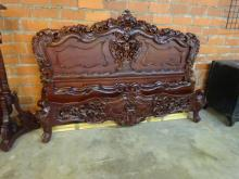 ORNATE CARVED MAHOGANY KING-SIZE BED