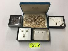 COSTUME JEWELRY INCLUDING 4 NEW IN BOX AND 2 STRANDS VINTAGE ARTIFICIAL PEARLS