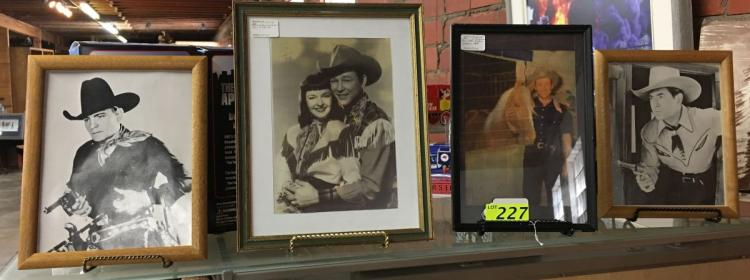 (4) COWBOY CELEBRITY PHOTOS: (2) ROY ROGERS; (2) UNKNOWN; (1) PHOTO OF INDIAN CHIEF