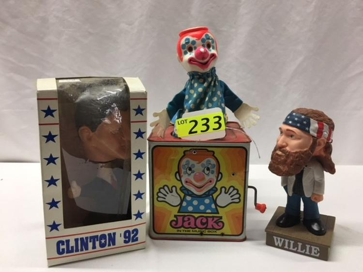BILL CLINTON BOBBLEHEAD, WILLIE ROBINSON BOBBLEHEAD AND JACK IN THE BOX TOY CLOWN