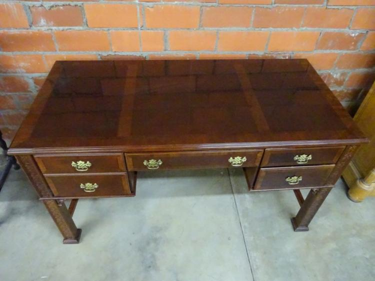 mahogany desk with center drawer and 2 flanking drawers. Black Bedroom Furniture Sets. Home Design Ideas