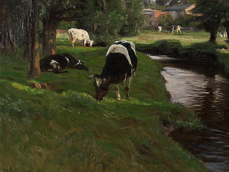 Oskar Frenzel (1855-1915), Grazing Cows, Oil, around 1900