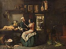 Hubertus van Hove (1814-1864), Kitchen Interior, Oil, 19th C.