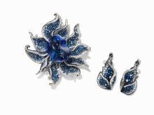 A Tanzanite, Sapphire & Diamond Pendant & Matching Earrings