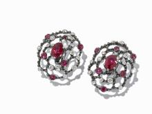 A Pair of 18ct White Gold, Ruby & Diamond Cluster Earrings