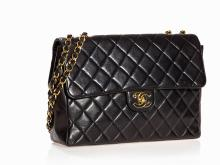 Chanel, Quilted Jumbo Single Flap Bag in Black, 1996/97