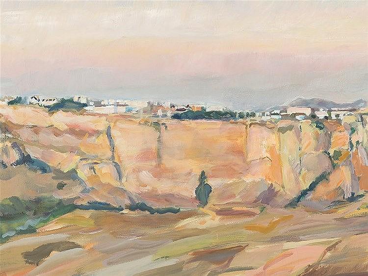 Heinz Greissing (b. 1933), Small View of Ronda, Oil, 1985