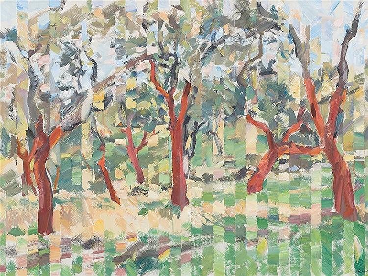 Heinz Greissing (b. 1933), Trees, Oil, 1994